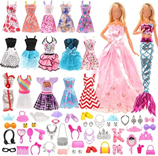 Mylass Value 55 Pcs Doll Clothes and Accessories Set EU CE-EN71 Certified Include 15 Clothes Party Grown Outfits + 40 Diff...