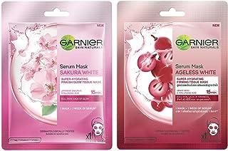 Garnier Skin Naturals, Sakura White, Face Serum Sheet Mask (Pink), 32g and Garnier Skin Naturals, Ageless White, Face Seru...