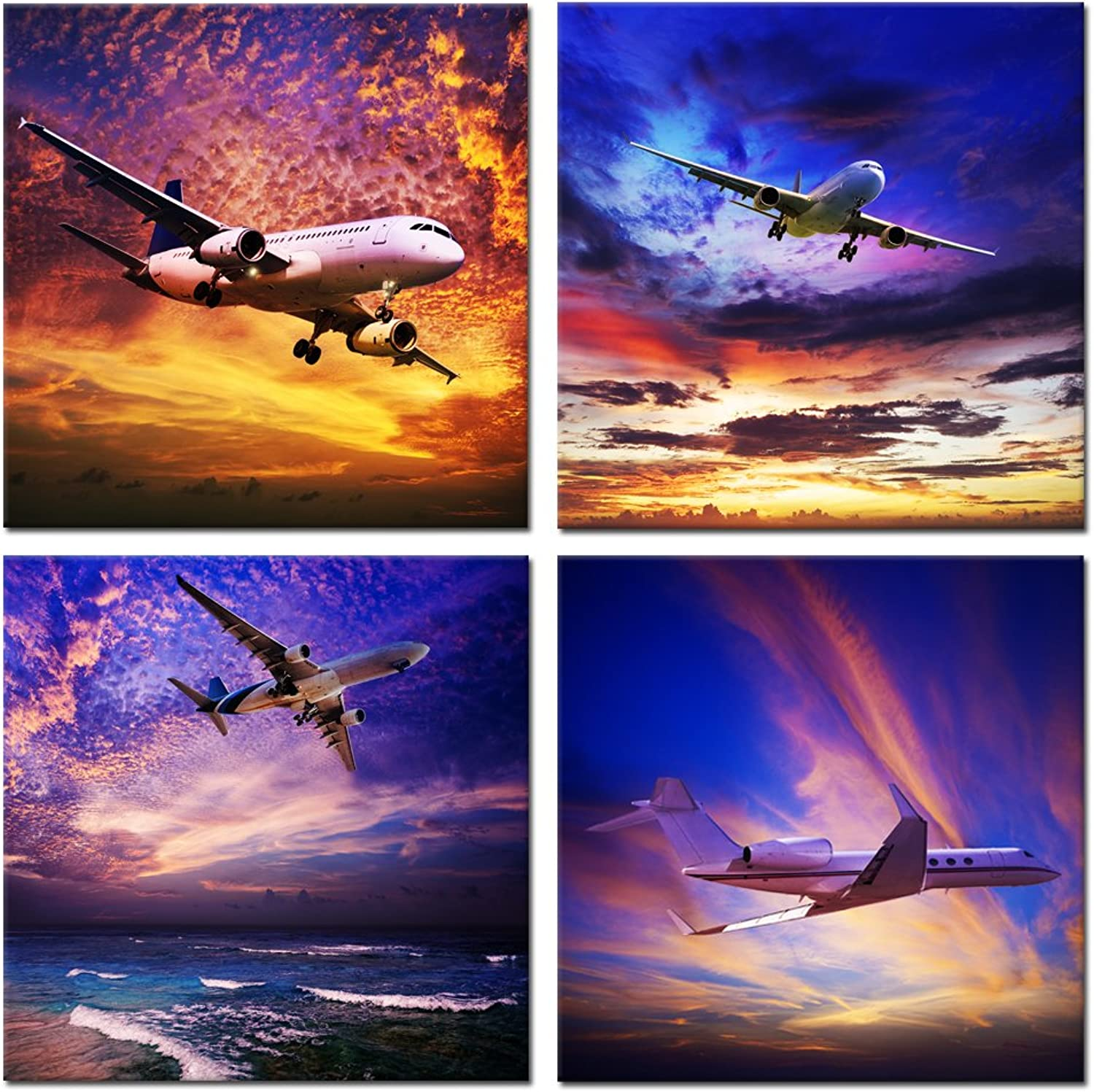 Kreative Arts - 4 Piece Canvas Prints Wall Art Jet Plane Landing at Sunset Sky Pictures Paintings Modern Gallery Wrapped Giclee Airplane Artwork for Living Room Home Decor (16x16inchx4pcs set)