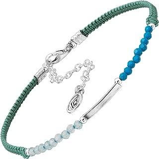 Velvet Garden' Natural Aquamarine & Compressed Turquoise Cord Bead Bracelet in Sterling Silver, 7