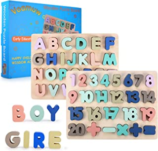Wooden Puzzles for Toddlers, Voamuw Wooden Alphabet Number Puzzles Toddler Learning Puzzle Toys for Kids, 2 in 1 Puzzle for Toddlers, Ages 2 3 4 5 (Set of 2)