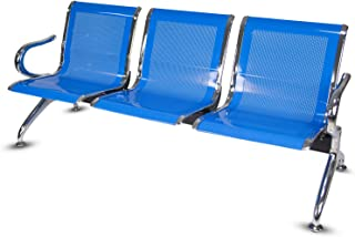 Airport Office Reception Waiting Area Bench Guest Chair Room Salon Barber Bench (Blue, 3-Seat)
