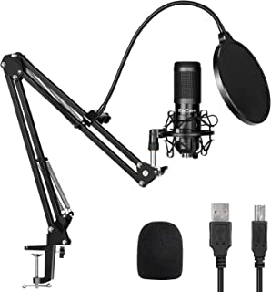 USB Streaming Podcast Microphone Kit,KinCam Professional 192KHZ/24Bit Studio Cardioid Condenser Computer PC Mic Kit with Scissor Arm Shock Mount Stand Pop Filter for Music Recording,YouTube,Gaming