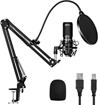 USB Streaming Podcast Microphone Kit,KinCam Professional 192KHZ/24Bit Studio Cardioid Condenser Computer PC Mic Kit with S...