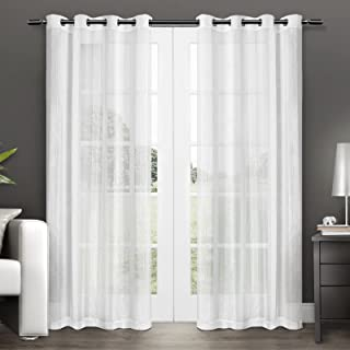 Exclusive Home Curtains Penny Sheer Grommet Top Panel Pair, Winter White, 50x84, 2 Piece