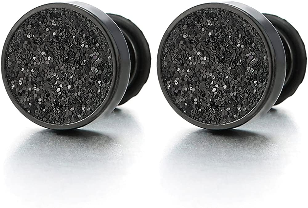 Men Women Black Screw Circle Stud Earrings with Black Sand Glitter, Steel Cheater Fake Plugs Gauge