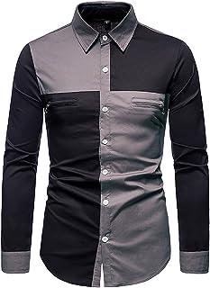 Koszule męskie, bawełniane koszule męskie z blokami kolorów z 2 kieszeniami na klatkę piersiową z zamkiem błyskawicznym z ...