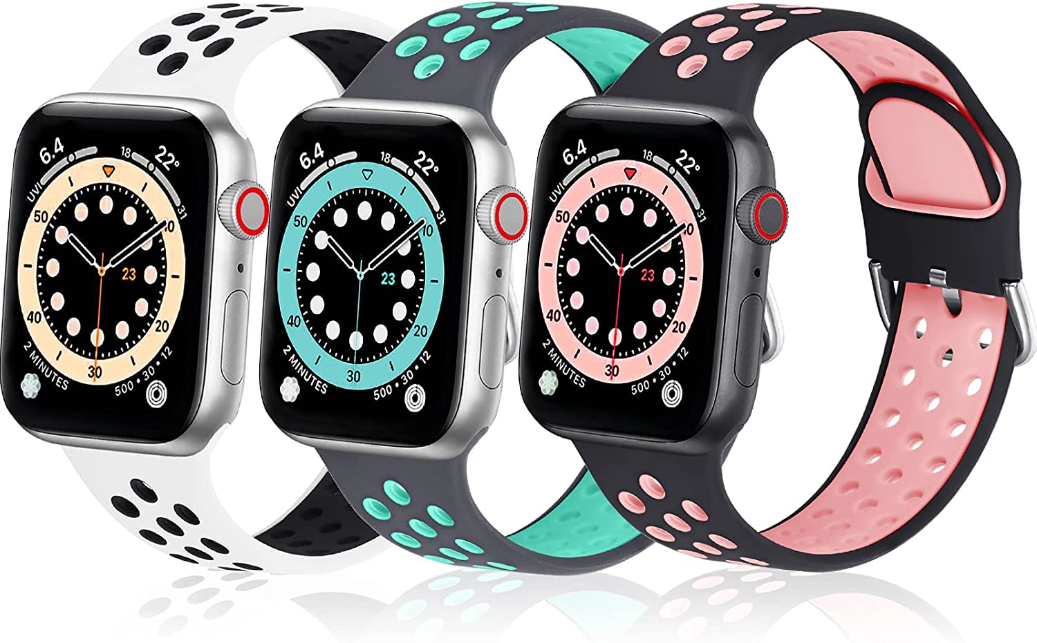 OMIU Sports iWatch Bands Compatible for Apple Watch Band 38mm 40mm 41mm 42mm 44mm 45mm for Men Women, 3 Packs Breathable Silicone Wristbands Replacement Strap for iWatch Series 7/6/5/4/3/2/1/SE