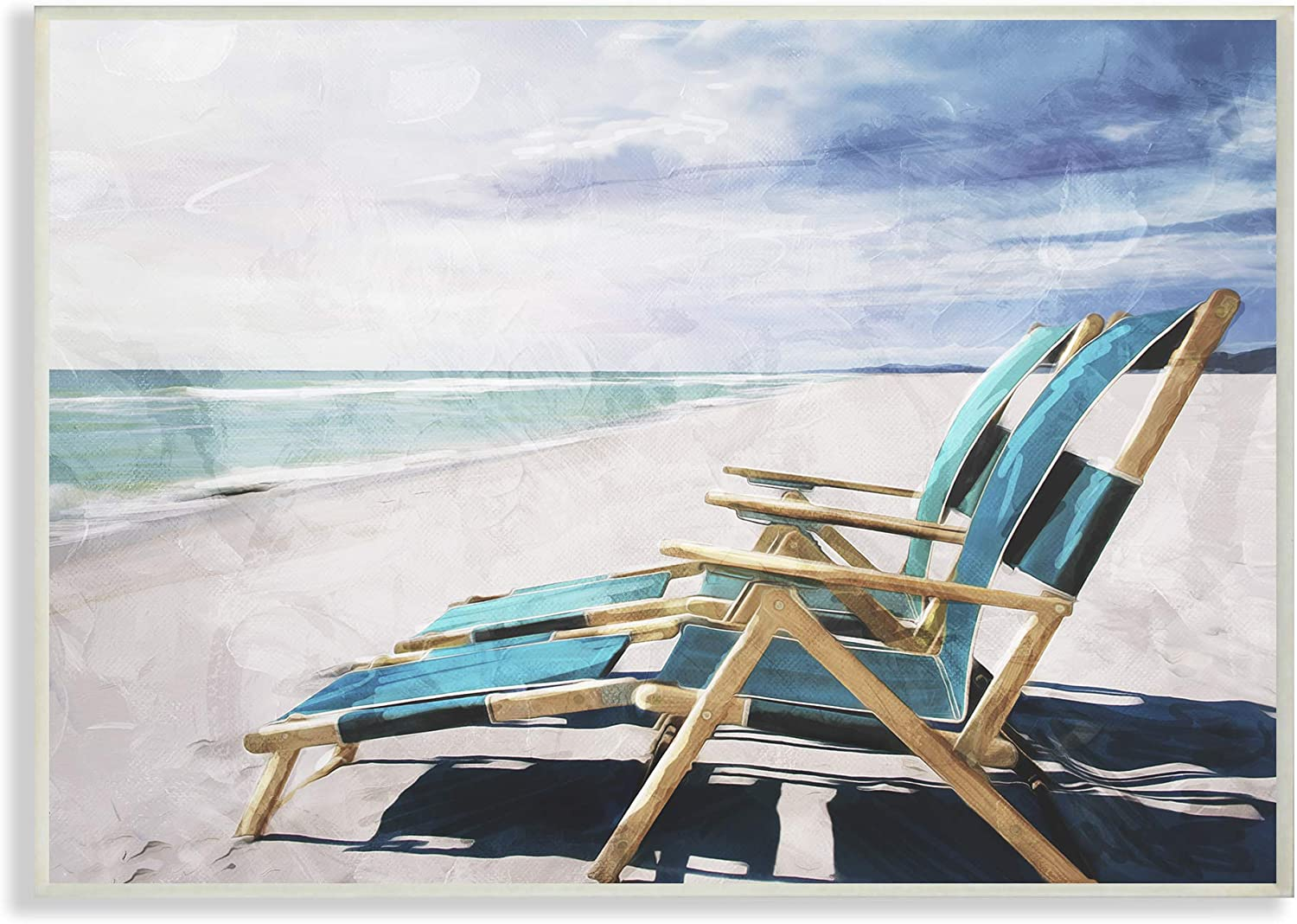 The Stupell Home Decor Set of Teal bluee Chairs on The Beach Wall Plaque Art, 13 X 19, Multi-color