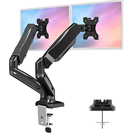 "HUANUO Dual Monitor Stand - Fully Adjustable Monitor Desk Mount Gas Spring LCD Monitor Arm VESA Mount for 13"" to 27"" Flat Curved Computer Screens - Each Arm Holds Up to 17.6lbs"