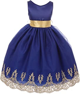 403782ec0d Chic Baby Little Girls Royal Blue Gold Lace Embroidered Flower Girl Dress 4- 6