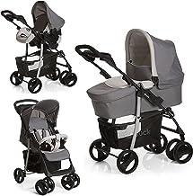 Hauck Kombi Kinderwagen Shopper SLX Trio Set / inkl. Baby Wanne mit Matratze / Reise System mit Autositz / Buggy mit Liegefunktion / bis 25 kg / Getränke Halter / Kompakt Faltbar / Grau