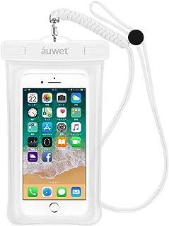 Auwet iPhone Android 対応 スマホ防水ケース フローティング構造 ストラップ付き 指紋/顔認証可 IPX8 (白)
