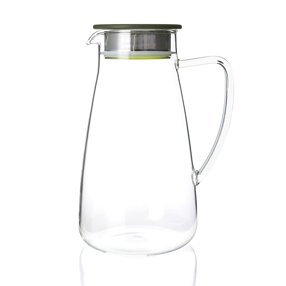 FORLIFE 838-A-GTE Flask Glass Iced Tea Jug, 64 oz, Green