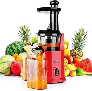 amzdeal Slow Juicer – Extracteur de jus de fruits et légumes, sans BPA, fonction réversible & facile à nettoyer, avec cara...