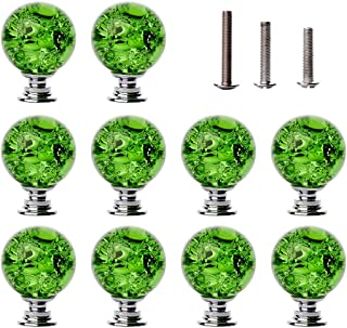 LONGWIN 10 Pack Crystal Cabinet Knobs Handles - 30mm Glass Ice Crackle Ball Shaped Dresser Drawer Pulls for Kitchen Batchroom Bedroom Green