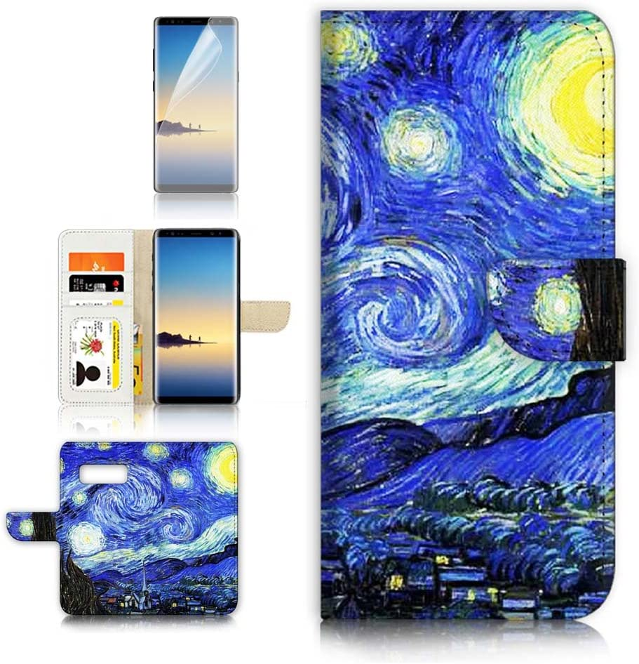 (for Samsung Galaxy S10e) Flip Wallet Case Cover & Screen Protector Bundle - A0066 The Starry Night Van Gogh