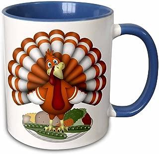 3dRose 216932_6 Cute Large Orange Thanksgiving Turkey On Vegetables Mug 11oz Blue