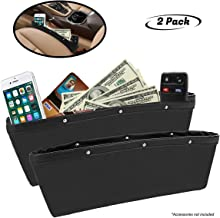 lebogner Black Gap Filler Premium PU Full Leather Console Pocket Organizer, Interior..