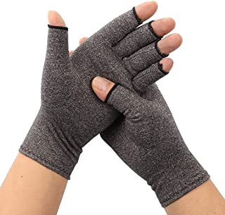 ARHSSZY 1 Pair Arthritis Compression Fingerless Gloves for Womens Mens, Joint Pain,Cold Swollen Hand Stiffness and Neuropathy Pain Relief,Improves Blood Circulation (Light Grey,Medium)