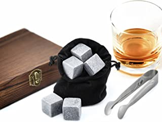 PRECORN Whisky-Steine Geschenkset Premium Selection in edler Holzbox 9 Eiswürfel aus Speckstein Kühlschrank Ice Cubes Whiskey Kühlsteine für Getränke