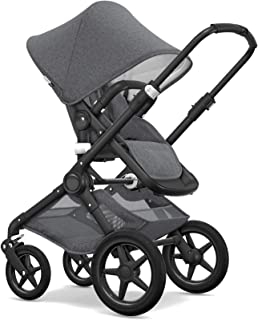 Bugaboo Fox Classic Complete Stroller, Black/Grey Mélange - Fully-Loaded Foldable Stroller with Advanced Suspension and All-Terrain Wheels