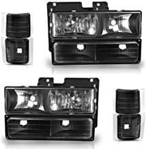 AUTOSAVER88 Headlight Assembly Kit Compatible with Chevy C/K Series 1500 2500 3500 / Chevy Tahoe/Chevy Suburban/Chevy Silverado Headlamps Replacement w/Corner & Bumper Black Housing Clear Lens