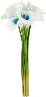 Ezflowery X-Large 28'' Artificial Calla Lily Flowers Real Touch Latex Bouquet for Wedding Centerpiece Room Office Party Home Decor Floral Arrangements (X-Large - 12 Pack, Blue in White)