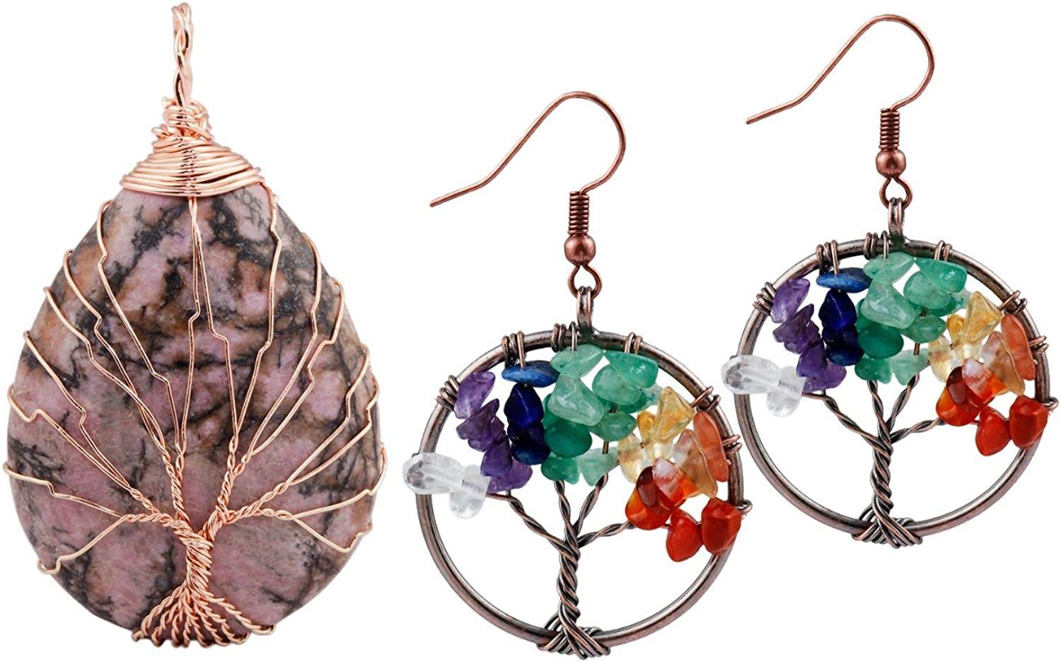 rockcloud Tree of Life Necklace Earrings Jewelry Set Wire Wrapped Healing Crystal