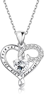 Sllaiss Sterling Silver Heart Pendant Necklace for Women Engraved Love CZ Necklace, Set with Swarovski Zirconia
