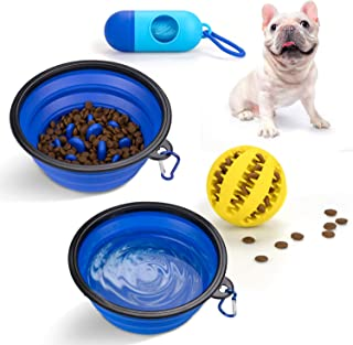 PuppyDoggy 2 Pack Collapsible Dog Bowl for Travel Dog Slow Feeder Bowl Water Dish Portable & Dog Toy Ball Chewing Training...