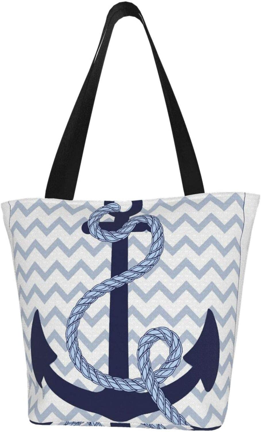 Navy Blue Wave Striped discount Anchor Water Canvas Resistant Max 76% OFF Large Extra