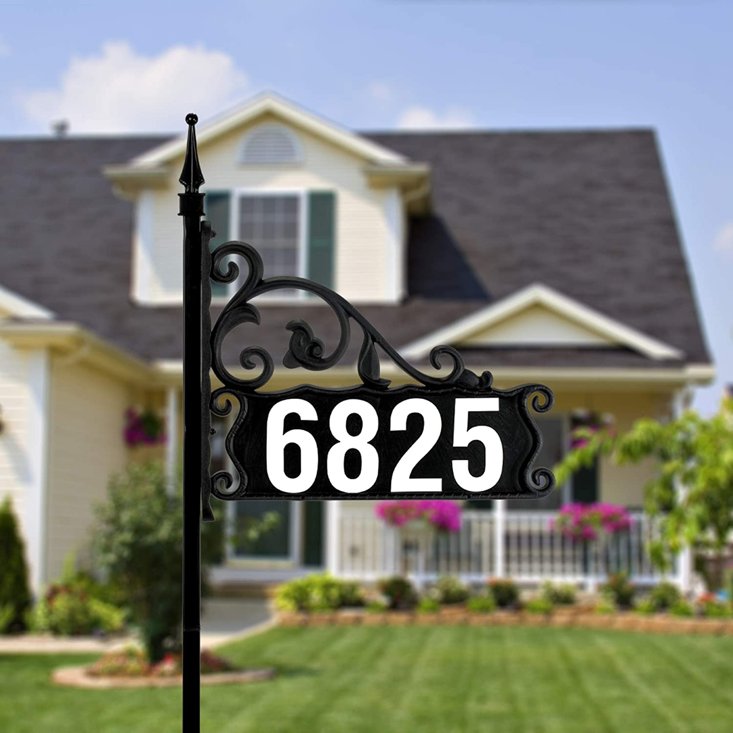 """Address America Boardwalk Home Address Yard Sign – Easy to Make, DIY  Address Sign Plaque with Post, Customizable – Double Sided, Reflective –  20"""" Pole ..."""