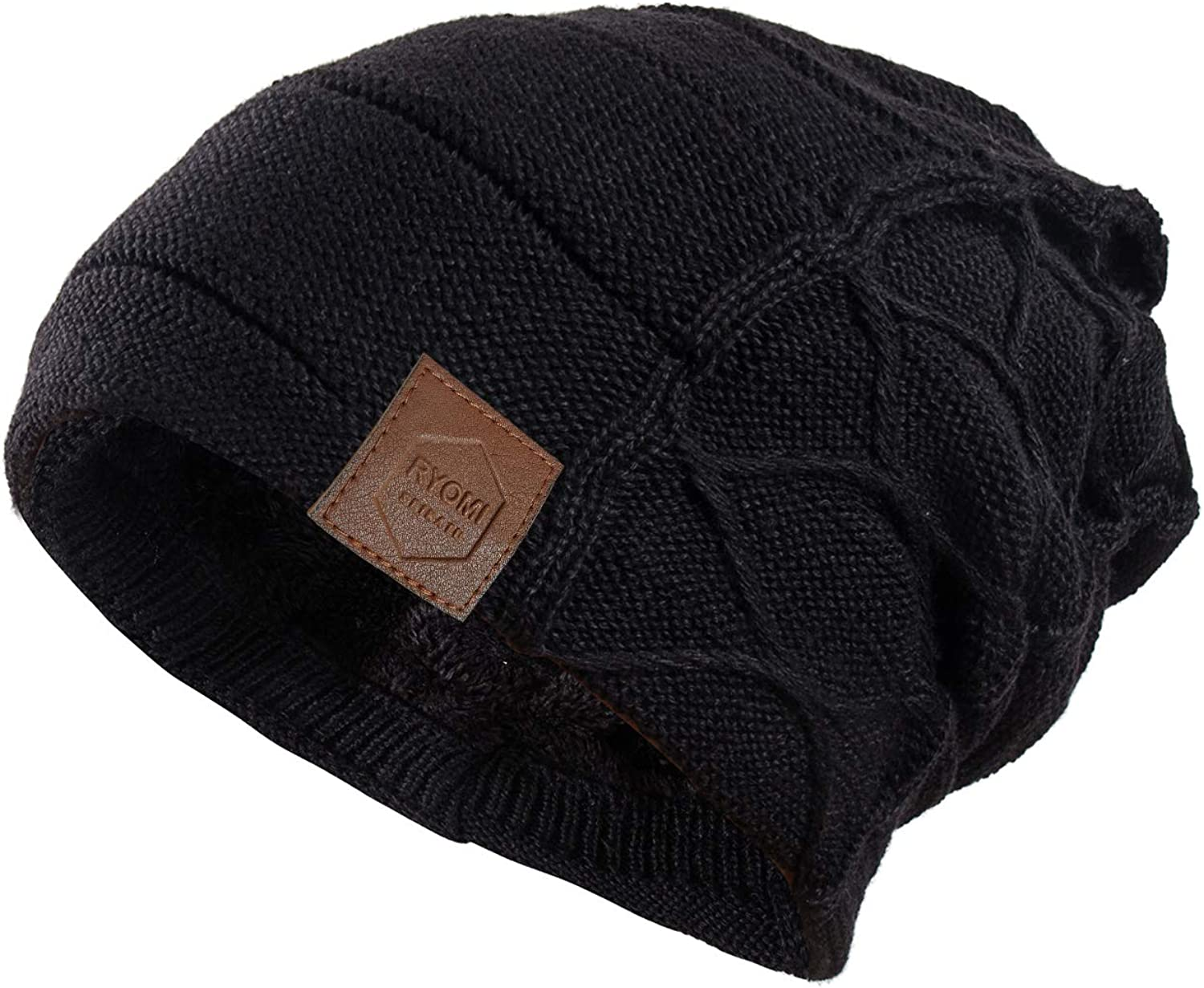 RYOMI Large discharge sale SEIKATU Discount mail order Beanie Hat for Men Winter Lined Fleece W Women and