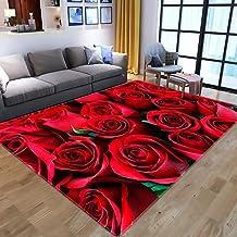 LHGBGBLN 3D Printing Carpet red Rose Bedroom Living Room Non-Slip mat Corridor Floor mat Door mat Flower Carpet Home Decor...