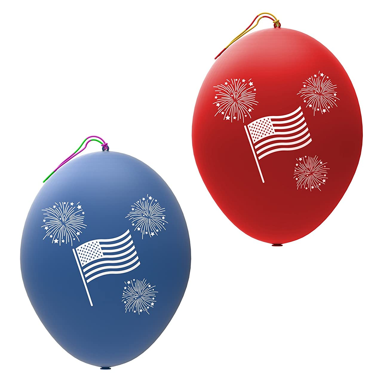 John & Judy 24 Patriotic Punch Balloons for Kids | Best for Memorial Day Party Supplies, Party Favors and Fourth of July Party Decorations | American Flag July 4th Punch Balls for Boys and Girls
