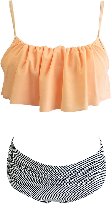 Zando Women Plus Size Two Piece Beachwear Swimsuit High Waisted Retro sext Bathing Suit Push Up Bikini Set Swimsuit