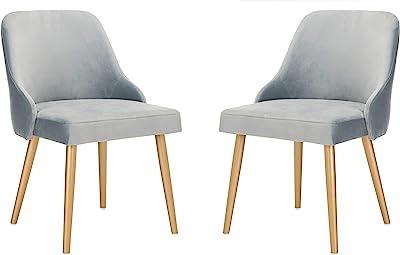 Safavieh Home Lulu Mid-Century Slate Blue Velvet and Gold Dining Chair, Set of 2