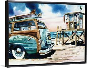 "Surf Watch Black Floating Frame Canvas Art, 26""x20""x1.75"""