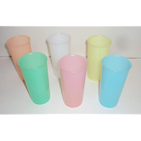 Tupperware Set of 6 Vintage Pastel Tall Iced Tea 16 Ounce Stacking Tumblers