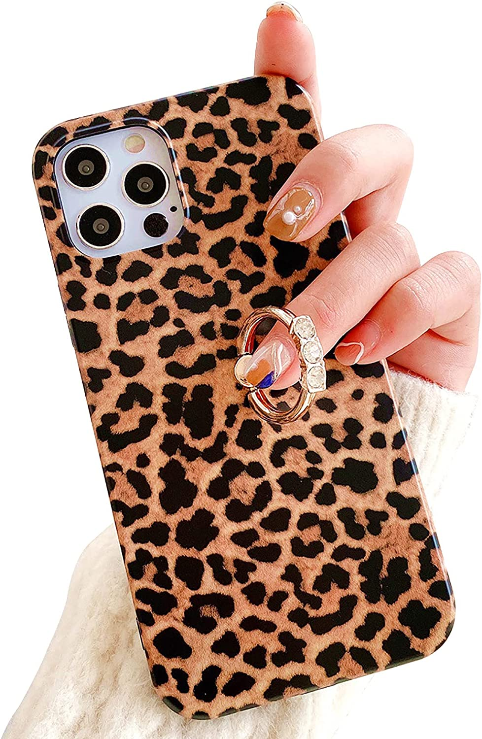 Leopard Print Phone Ring Case for Samsung Galaxy S20 MOIKY Women Diamond Crystal Rhinestone Holder Kickstand Fashion Brown Cheetah Animal Pattern Cute Silicone Shockproof Protective Cover