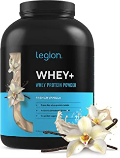 Legion Whey+ French Vanilla Whey Isolate Protein Powder from Grass Fed Cows, 5lb. Low Carb, Low Calorie, Non-GMO, Lactose ...