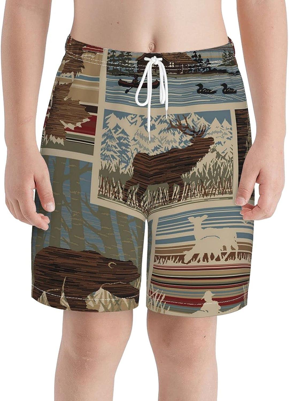 KAETZRU Boys Swim Trunks Beach Board Shorts Rustic Maple Lodge Bear Moose Cabin Teens Casual 3D Swimwear