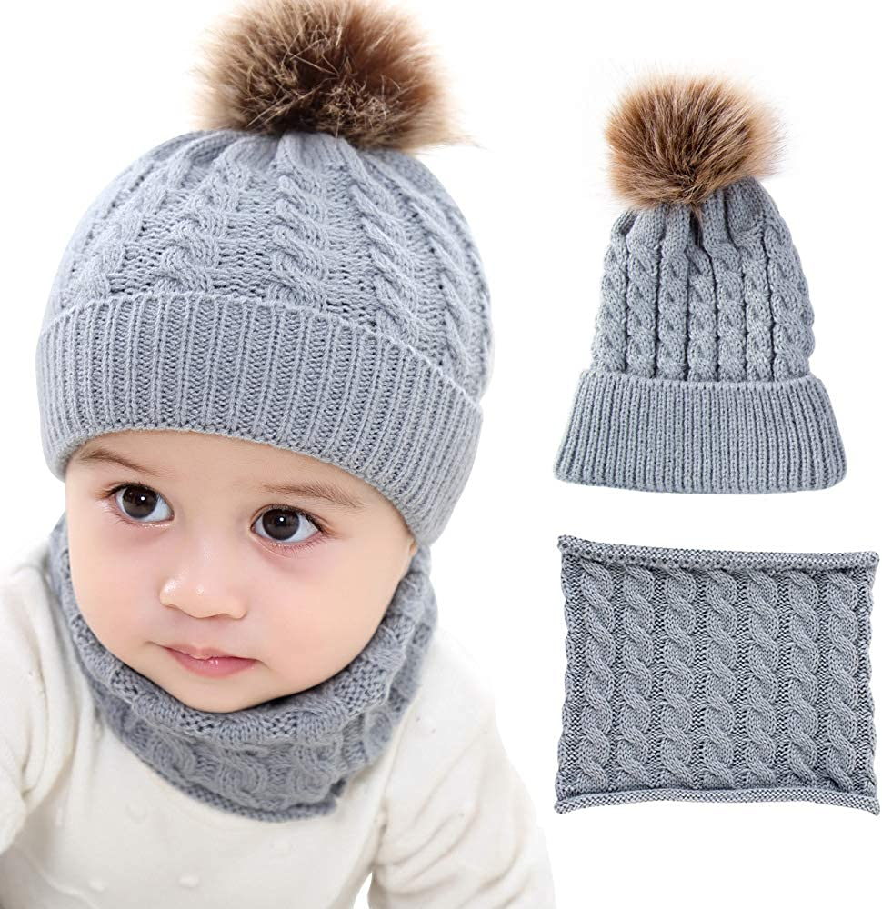 2PCS Toddler Baby Knit Hat Scarf Neckwarmer Winter Warm Beanie Hat Ski Cap
