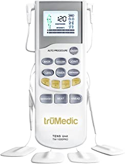TruMedic TENS Electronic Pulse Unit & 4 Electrode Pads - For Muscle Stiffness, Soreness, Aches & Pains, Perfect for Relaxi...