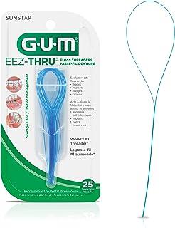 GUM EEZ-Thru Floss Threaders, Orthodontic Braces, Fixed Bridges & Dental Implants, 25 Count
