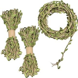 YuCool Juteband, 5 mm, natürliche Wandbehang, Jute-Ranke, mit künstlichen grünen Blättern, für rustikale Hochzeiten, Zuhause, Garten, Dschungel-Party-Dekorationen und Bastelarbeiten 3 Rollen