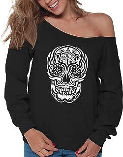 Vizor White Skull Off Shoulder Sweatshirt Women's Sugar Skull Oversized Sweater