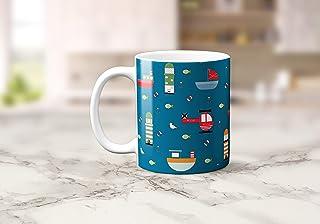 Taza de té o café azul oscuro con diseño costero 11 oz