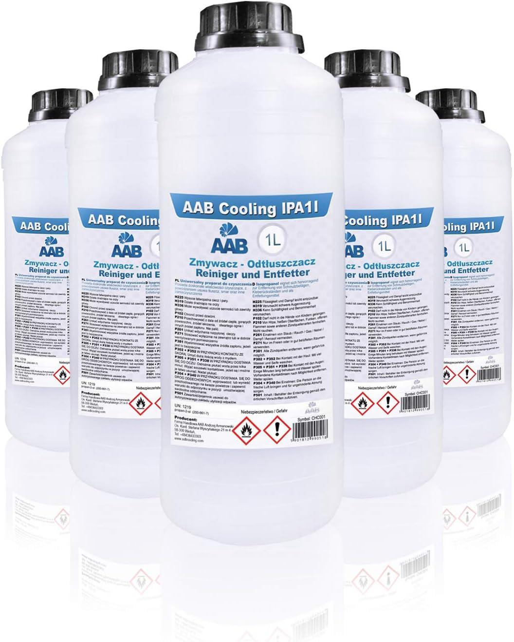 AAB IPA 1L - Conjunto de 5 - Un Isopropanol Eficaz Para la Limpieza, Universal Alchol Isopropilico, Propanol, Alcohol Desinfectante, Alcohol ...